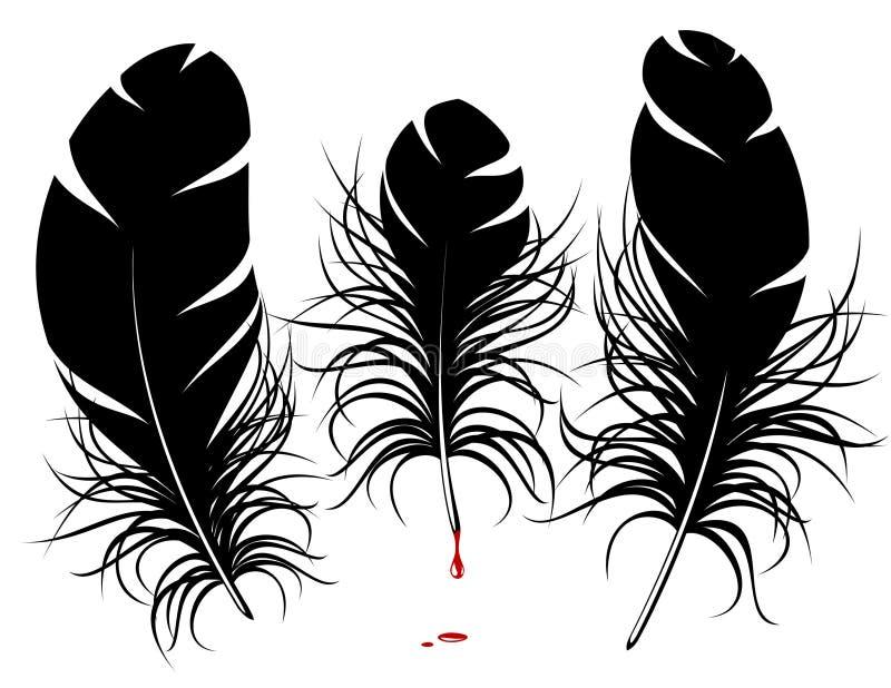 fjädersilhouettevektor stock illustrationer