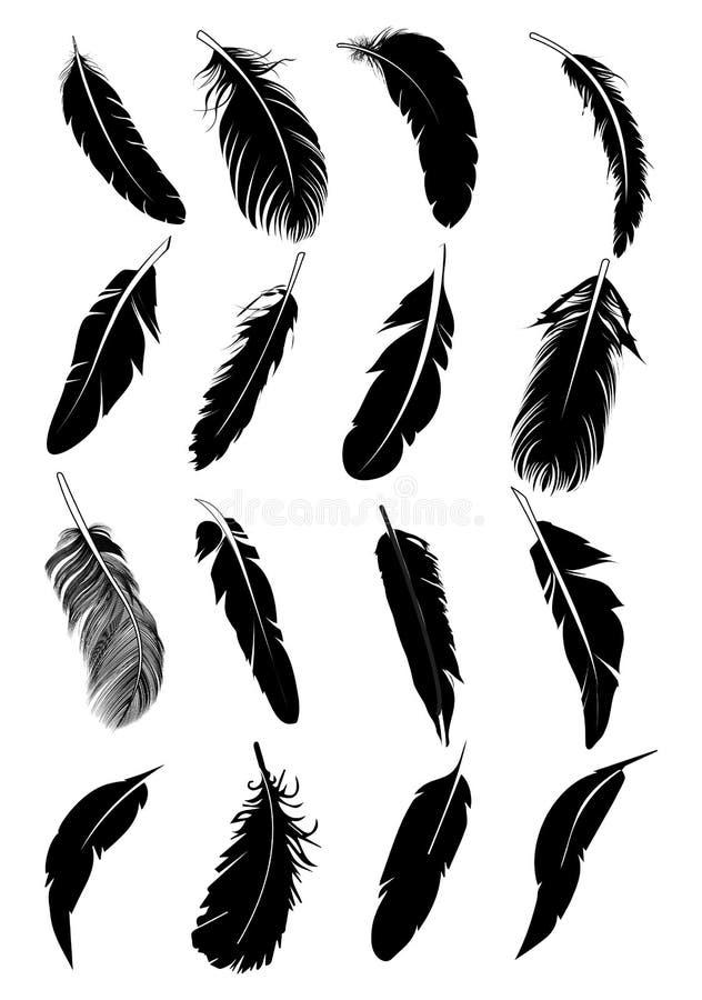 Fjädersymbolsuppsättning royaltyfri illustrationer