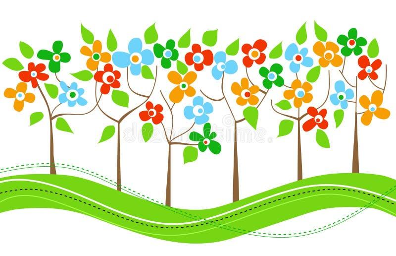 fjädertrees royaltyfri illustrationer