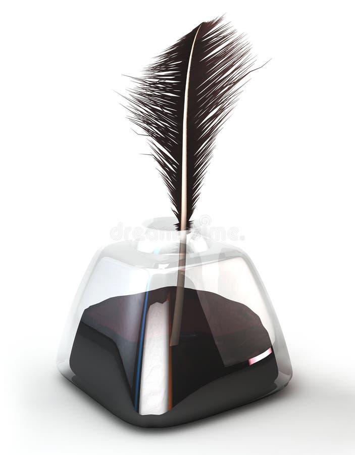 Fjädervingpenna i den glass bläckhornen Fjäderpenna i färgpulverkrukan Isolerat på vit illustration 3d vektor illustrationer
