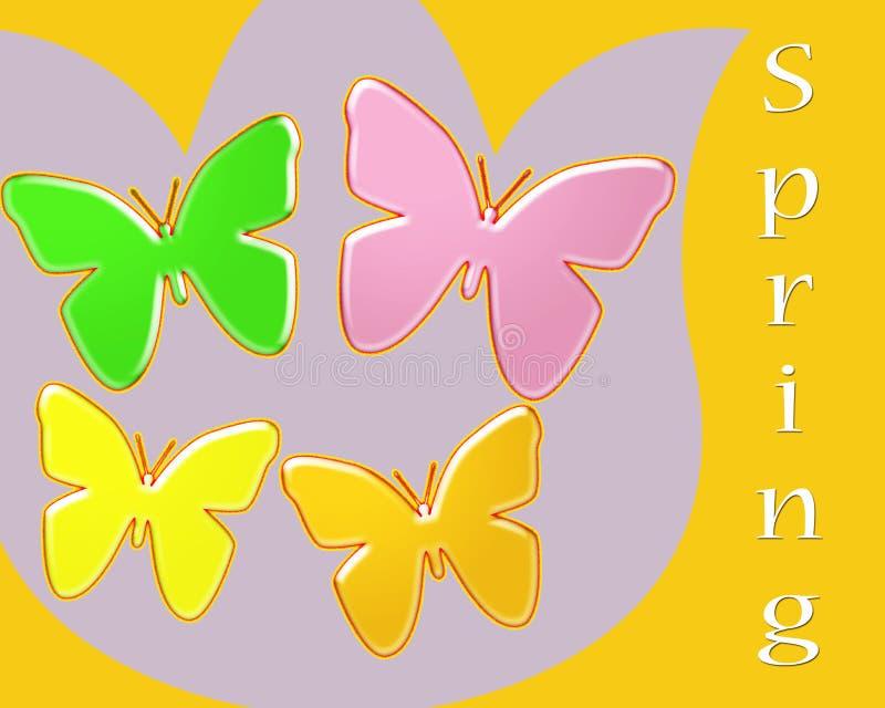 Fjädra abstrakt begrepp av ljust färgade fjärilar på en tulpanbakgrund stock illustrationer