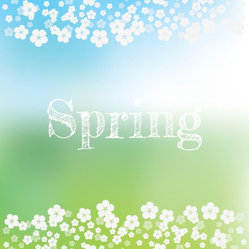 Fjädra abstrakt vektorbakgrund med gräsplan, blå suddig bokeh Handskriven typografititel och blomstrablomma vektor illustrationer