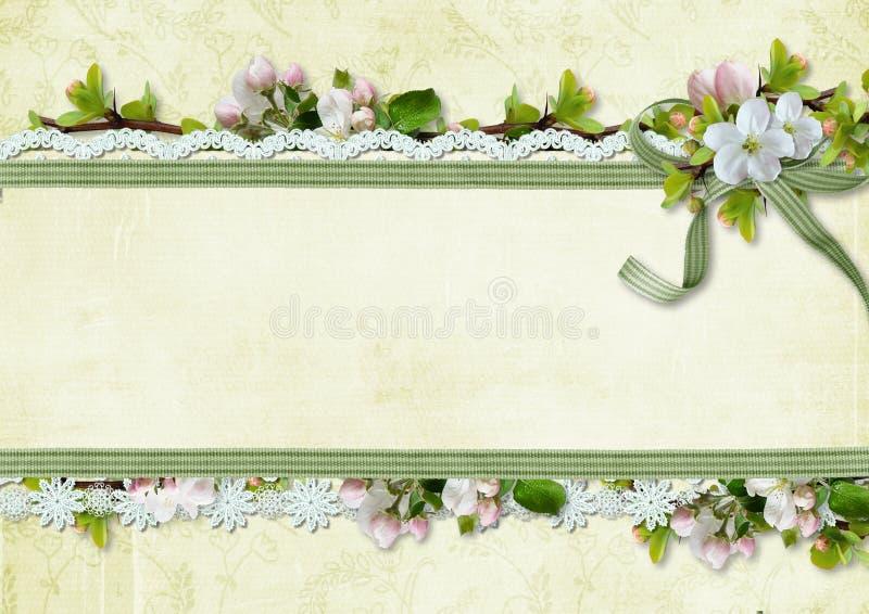 Fjädra bakgrund med äppleblommor och snöra åt royaltyfri illustrationer