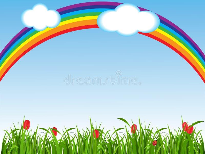 Fjädra bakgrund med ett grönt gräs, blommor och en regnbåge royaltyfri illustrationer
