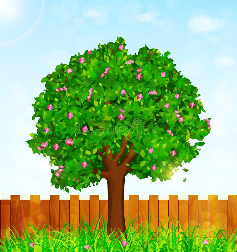 Fjädra bakgrund med grönt gräs och att blomstra trädet och arbeta i trädgården f stock illustrationer