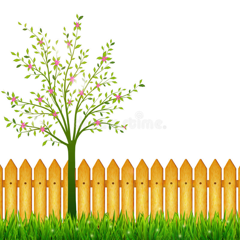 Fjädra bakgrund med grönt gräs och att blomstra trädet och arbeta i trädgården f royaltyfri illustrationer