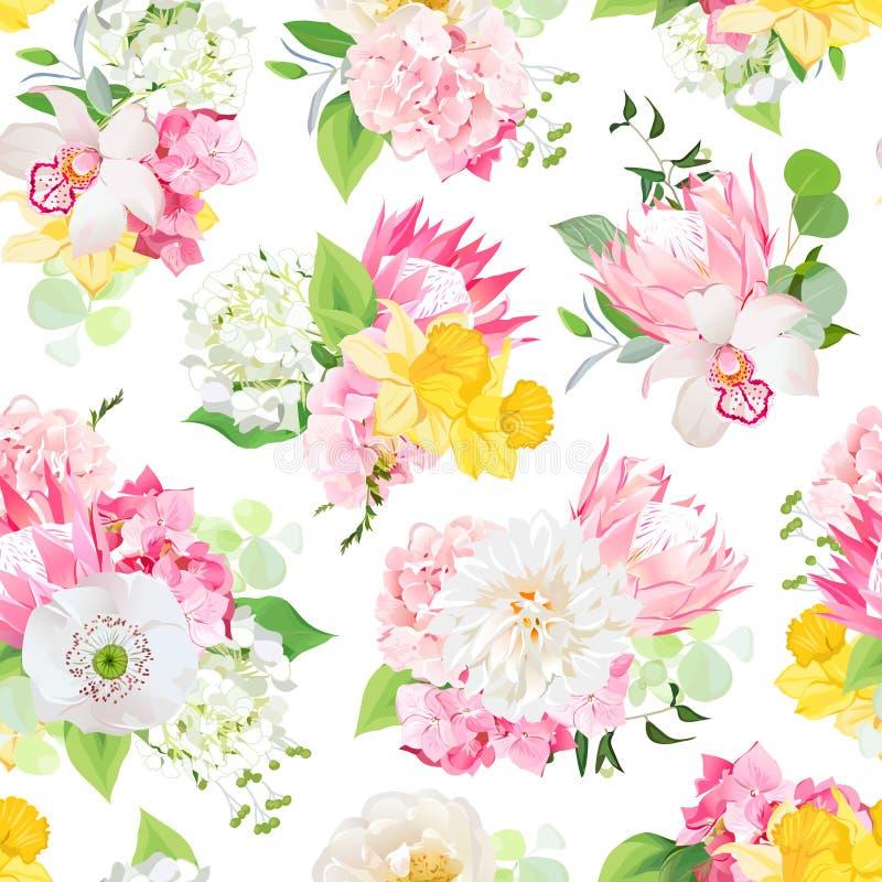 Fjädra blandade buketter av den rosa vanliga hortensian, proteaen, den vita vallmo, dahlian, orkidén, påskliljan och ljust - söml vektor illustrationer