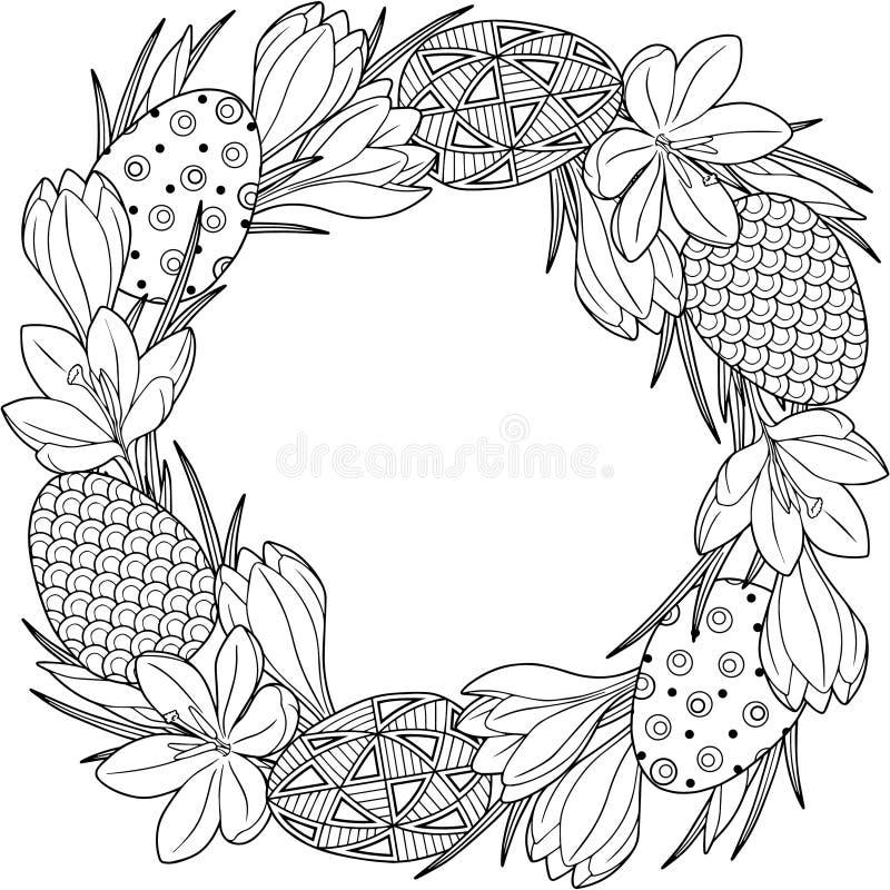 Fjädra blommakransen av krokusar och easter egss Isolerade vektorbeståndsdelar Svartvit bild för vuxen avkoppling Backgrou royaltyfri illustrationer