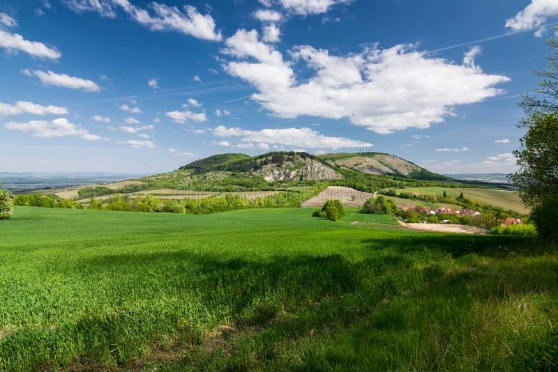 Fjädra bygd med blå himmel och moln - Palava kullar, Czec arkivbilder