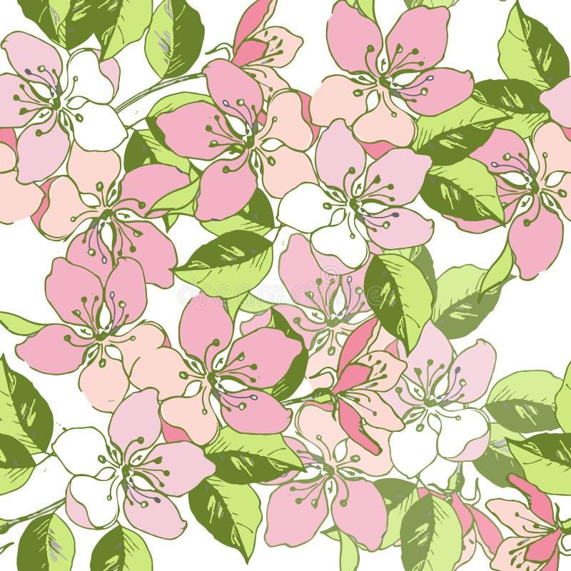 Fjädra den sömlösa modellen av den körsbärsröda blomningen, äpplepäron Dekorativ prydnadbakgrund för ett kort på dag för moder` s royaltyfri illustrationer