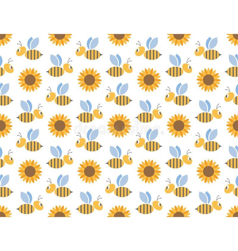 Fjädra den sömlösa modellen för bin som och för solrosor isoleras på vit stock illustrationer