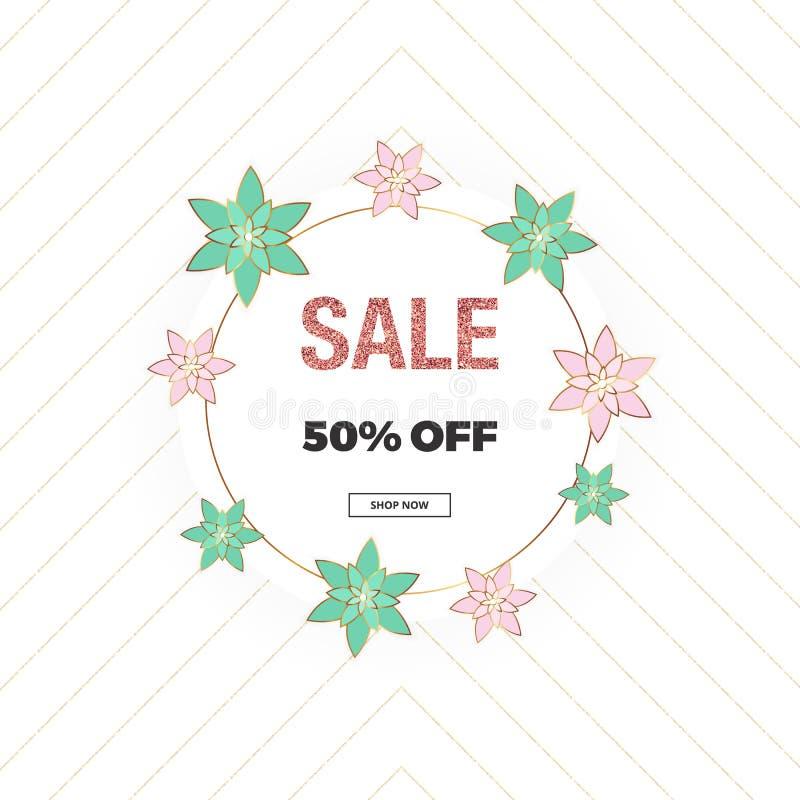 Fjädra försäljningen, fostra dagen för ` s, och 8th av marsbanret med rosa färg- och gräsplanblommor, blänker textur Mall för onl vektor illustrationer