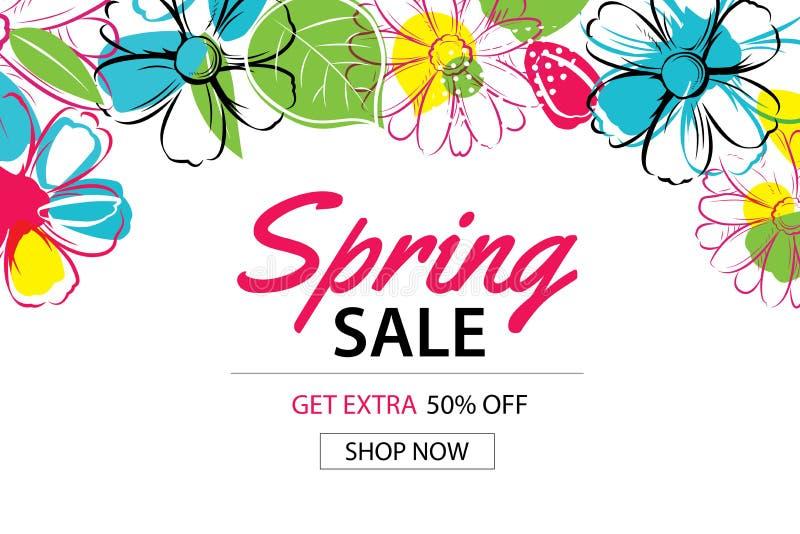 Fjädra försäljningsaffischmallen med färgrik blommabakgrund stock illustrationer