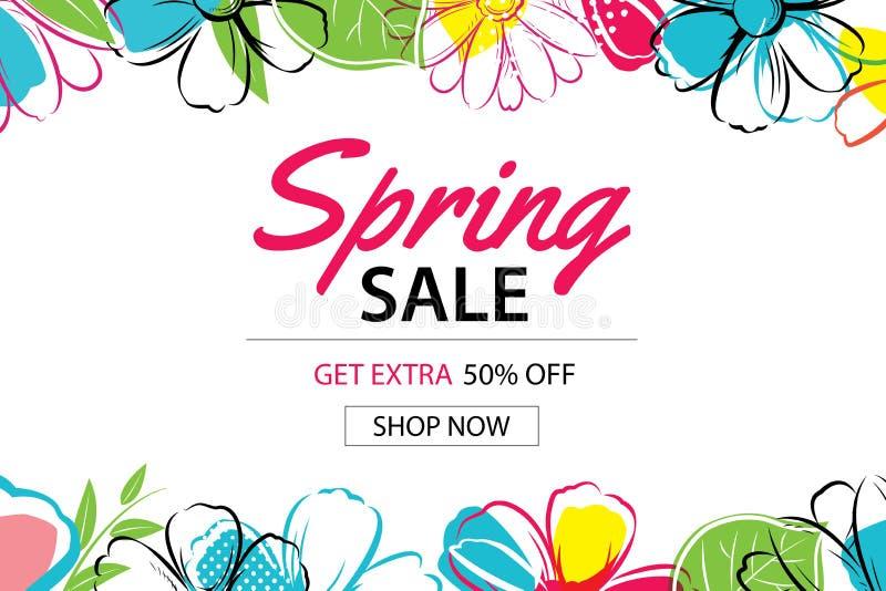 Fjädra försäljningsaffischmallen med färgrik blommabakgrund kunna royaltyfri illustrationer