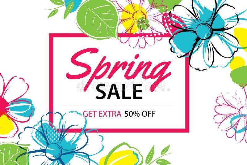 Fjädra försäljningsaffischmallen med färgrik blommabakgrund kunna stock illustrationer