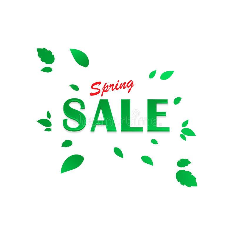 Fjädra försäljningsbakgrund, baner med härliga gröna sidor också vektor för coreldrawillustration stock illustrationer