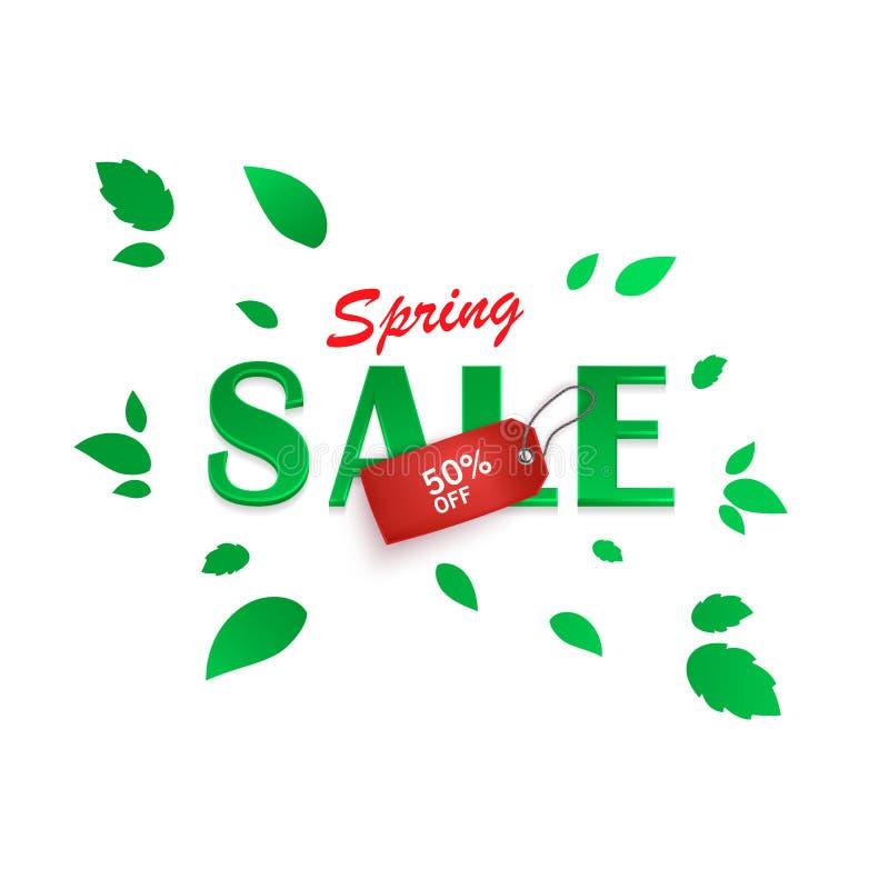 Fjädra försäljningsbakgrund, banret med härliga gräsplansidor och den realistiska röda etiketten också vektor för coreldrawillust vektor illustrationer