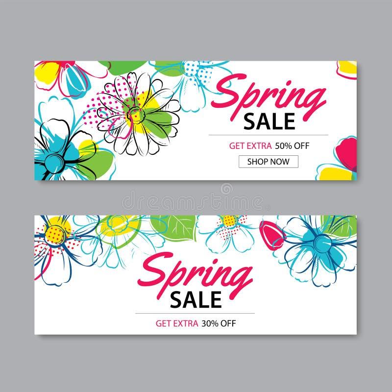 Fjädra försäljningsbanermallen med färgrik blommabakgrund kunna vektor illustrationer