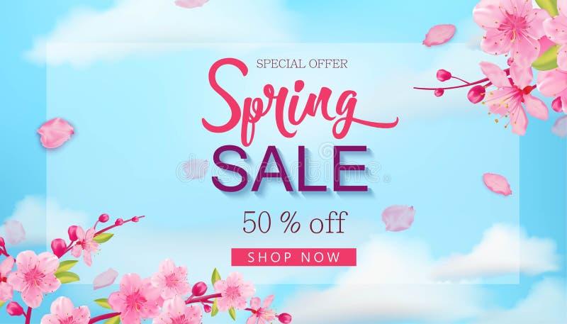 Fjädra försäljningsbanret med blommor, blå himmel, hand drog beståndsdelar för den blom- designen stock illustrationer
