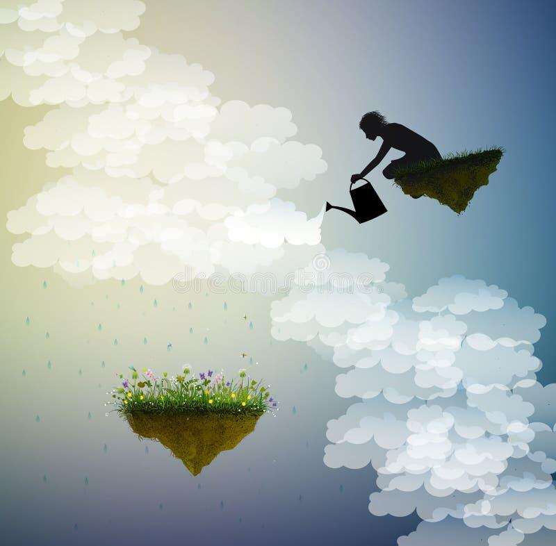 Fjädra fantasin, sagasommar, magiskt regn, pojke, eller guden bevattnar blommorna på flyg vaggar, royaltyfri illustrationer