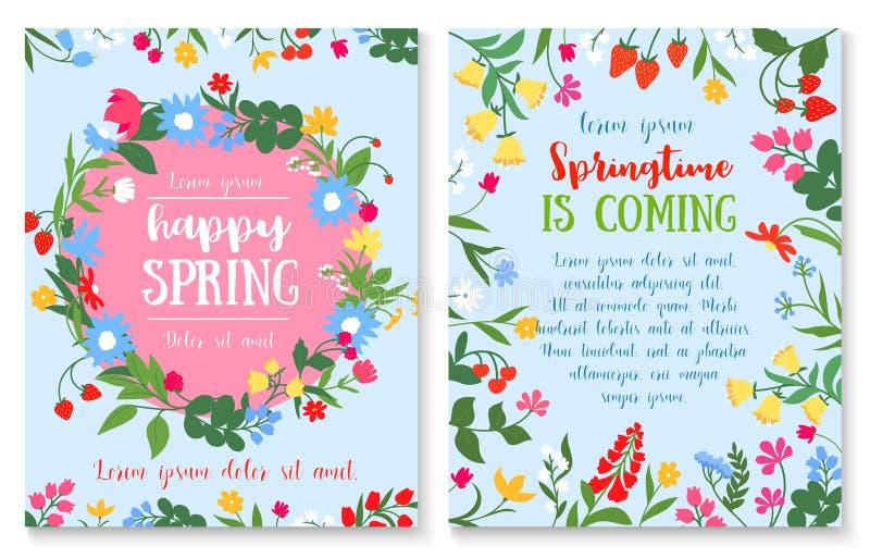 Fjädra ferieaffischen med blomma- och bärkransen stock illustrationer