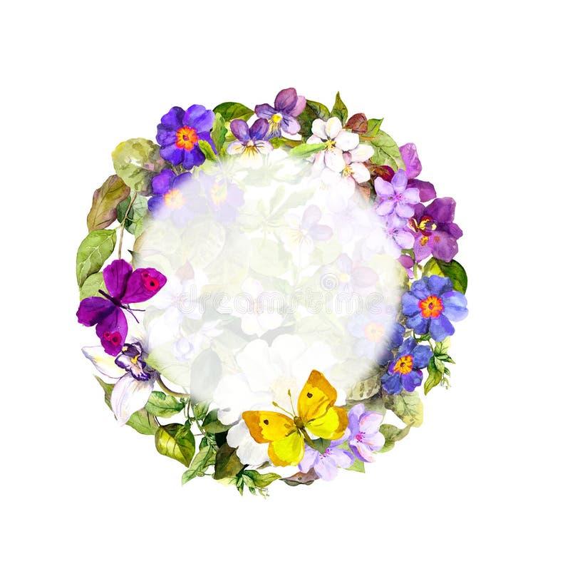 Fjädra fjärilar, ängblommor, löst gräs Blom- krans vattenfärg stock illustrationer