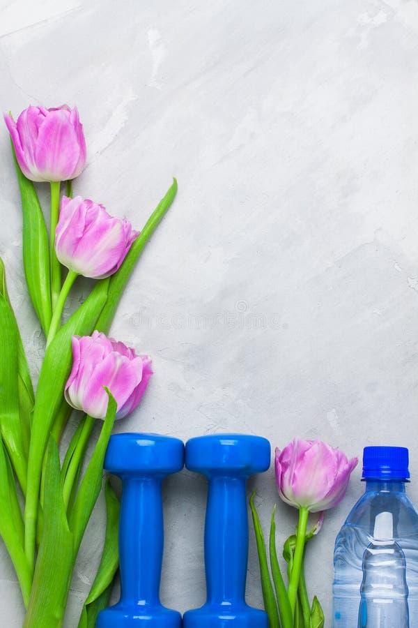 Fjädra flatlay sportsammansättning med blåa hantlar och lilor royaltyfria foton
