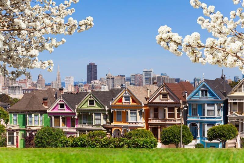 Fjädra fotoet av Painted damer och San Francisco s royaltyfria bilder
