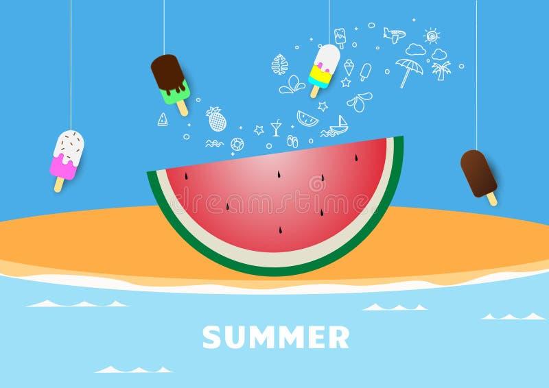 Fjädra illustrationen för vektorn för vattenmelon för sommaraffischbanret, bokstäver, och rosa färger planlägger för affischkort, royaltyfri illustrationer