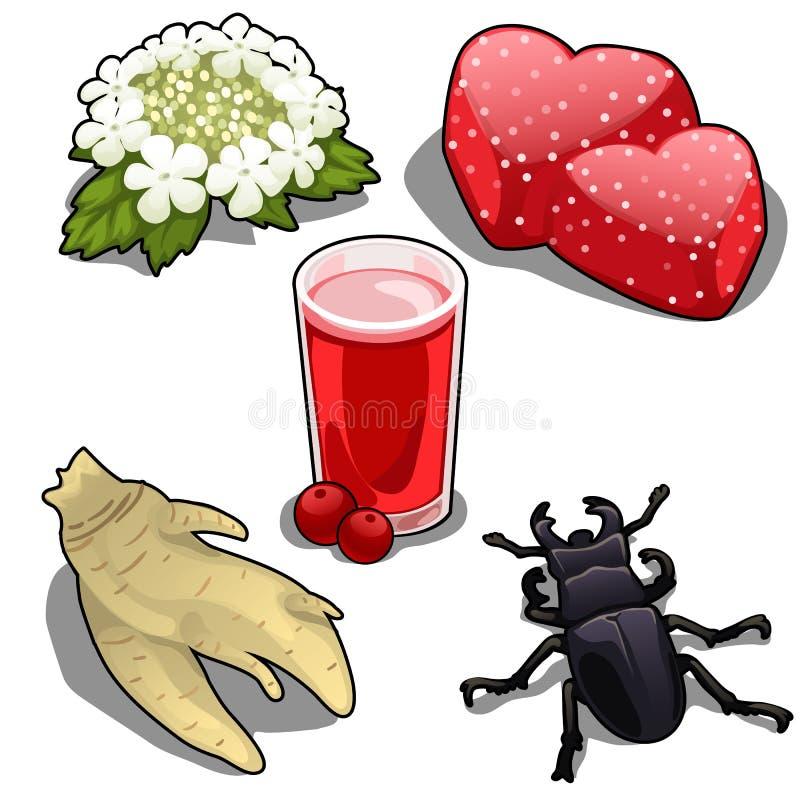 Fjädra kransen, fruktsaft, geléer, rota och skjuta ut stock illustrationer