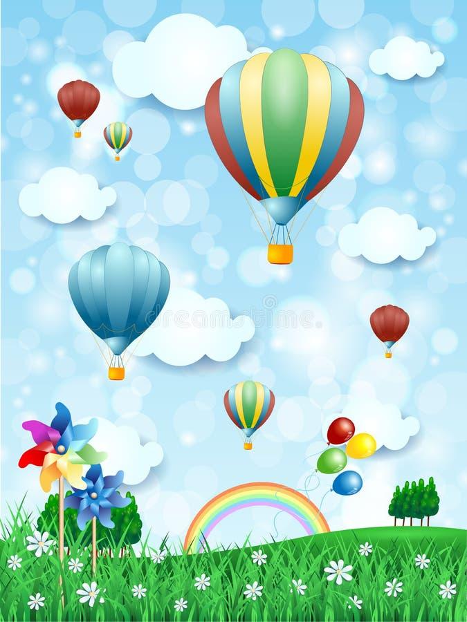 Fjädra landskapet med ballonger för varm luft, vertikal version stock illustrationer