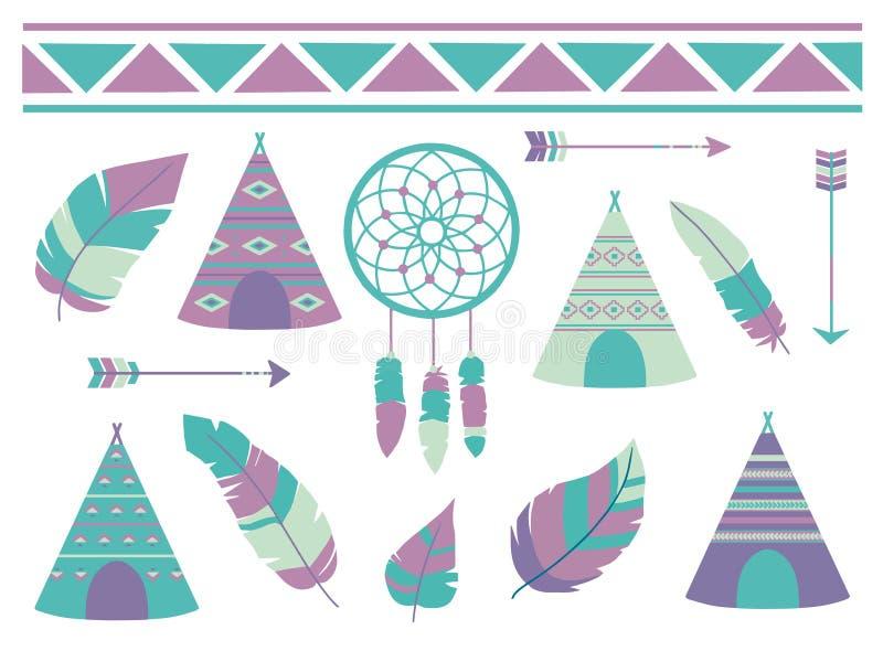 Fjädrar, dreamcatcher, pilar och tipitält med den bohemiska ethnomodellen, en gullig collectio för illustration för tecknad films vektor illustrationer