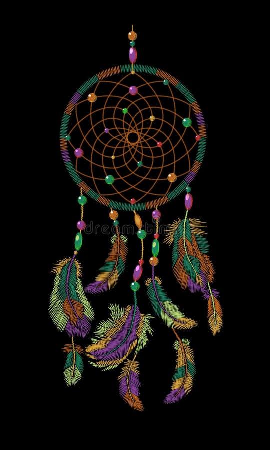 Fjädrar för dreamcatcher för broderibohoindian indiska För modedesign för kläder etnisk stam- stoppare för dröm stock illustrationer