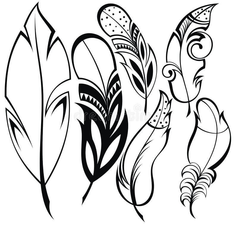 fjädrar isolerade objekt över setwhite stock illustrationer