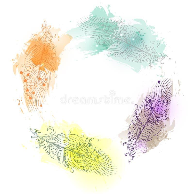 Fjädrar som målas på vattenfärgbakgrund Härliga fjädrar för vattenfärgfärg royaltyfri illustrationer