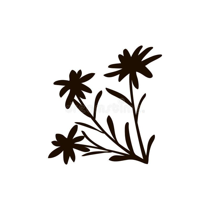 Fjällängarna sänker symbolen Berget den alpina stenbocken, chalet, edelweissblomman, alpenhorn, chalet, geten, kon, choklad mjölk royaltyfri illustrationer