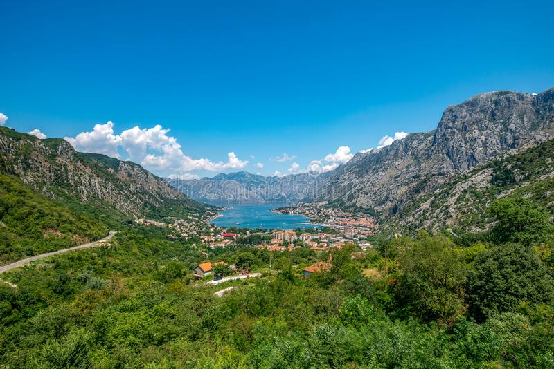 Fjärd av Kotor Boka Kotorska, Montenegro arkivfoton
