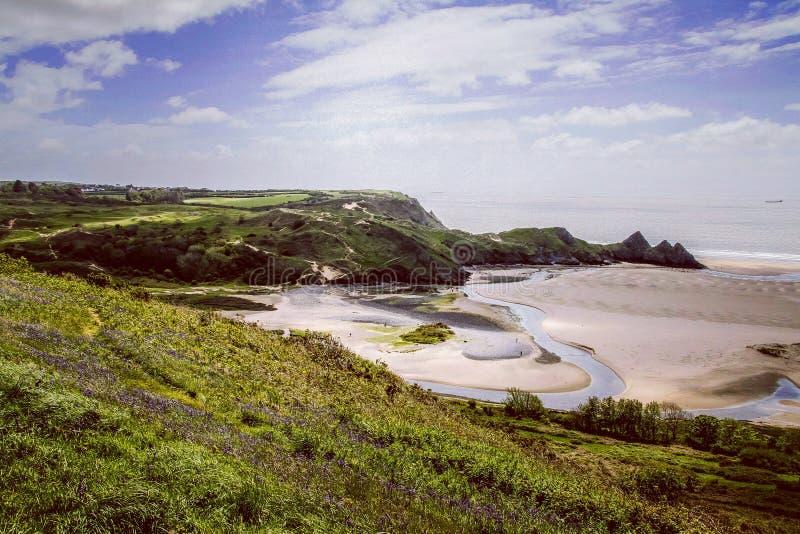 Fjärd Wales för tre klippor royaltyfria bilder