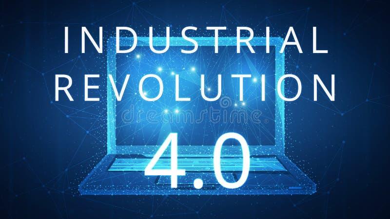 Fjärde industriella revolution på hudbaner med bärbara datorn royaltyfri illustrationer