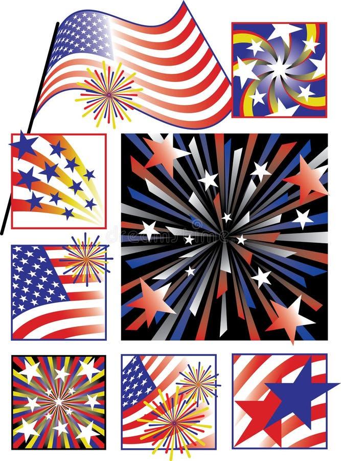 fjärde lutning juli för berömfärger stock illustrationer