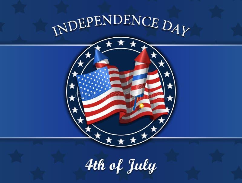 Fjärdedel av den Juli självständighetsdagen, flagga, fyrverkerier, vektorillustration som isoleras på blått royaltyfri illustrationer