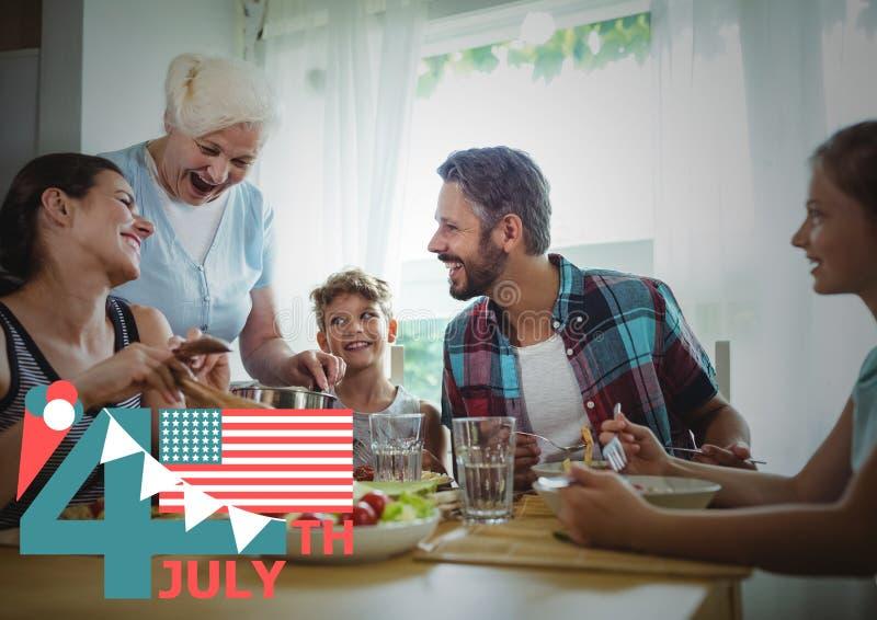 Fjärdedel av det Juli diagrammet med flaggor och glass mot familjmatställe arkivfoton