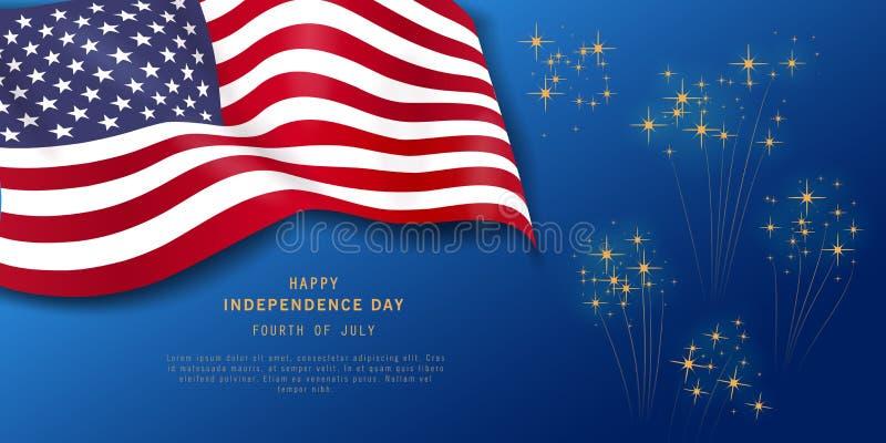 Fjärdedel av det Juli feriebanret på marinblå bakgrund med fyrverkerier Amerikansk självständighetsdagenpartiaffisch, reklamblad, stock illustrationer