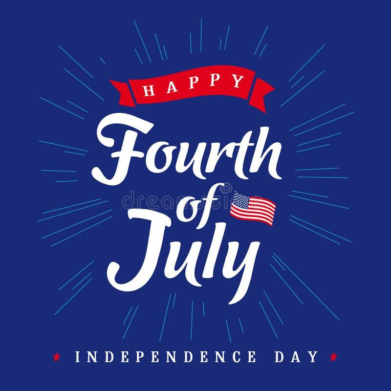 Fjärdedel av Juli, baner för Amerikas förenta statersjälvständighetsdagentappning royaltyfri illustrationer