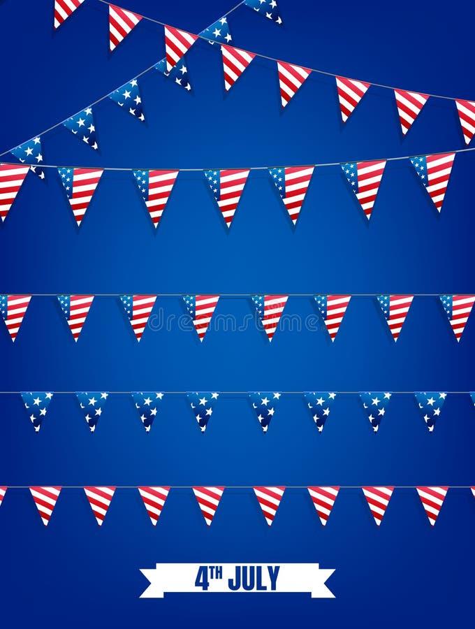 Fjärdedel av Juli buntings Garneringuppsättning av girlander för USA nationella ferier, händelser, baner, affischer, rengöringsdu vektor illustrationer
