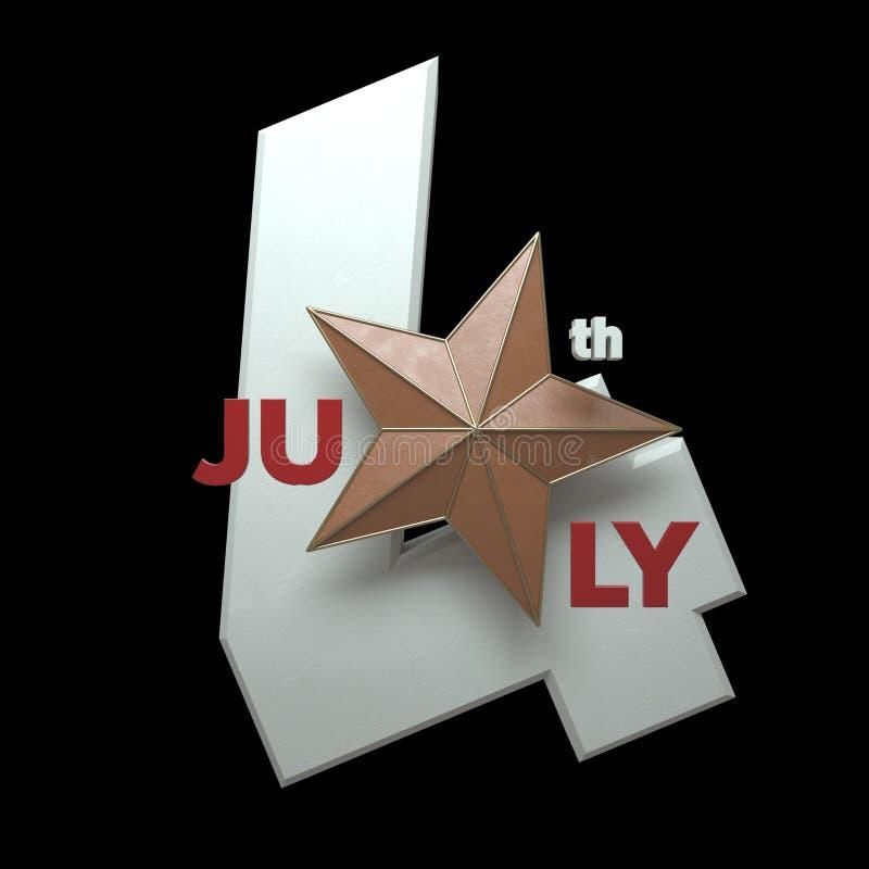 Fjärdedel av Juli 3D - framför - isolering vektor illustrationer