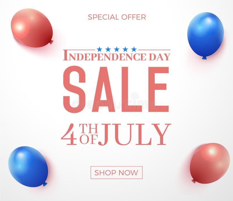 Fjärdedel av Juli, försäljning för specialt erbjudande för Amerikas förenta statersjälvständighetsdagen Bakgrund för vektorbaneri vektor illustrationer
