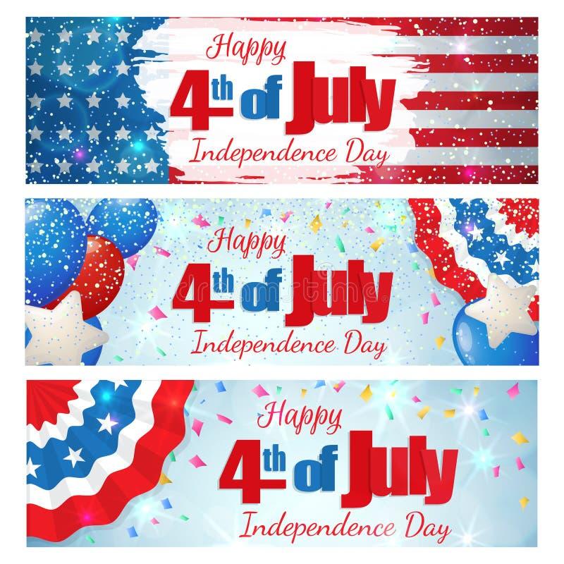 Fjärdedel av Juli, självständighetsdagenhorisontalbaner stock illustrationer