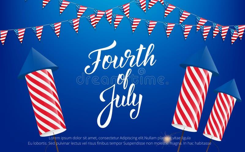 Fjärdedel av Juli, USA självständighetsdagenberöm Baner med bokstäver, buntings och fyrverkerier royaltyfri illustrationer