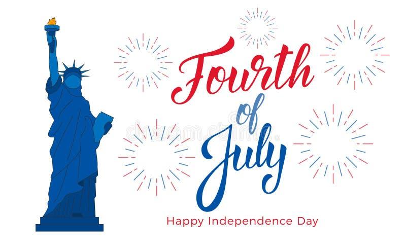 Fjärdedel av Juli, USA självständighetsdagenberöm Baner med bokstäver, staty av frihet och fyrverkerier vektor illustrationer